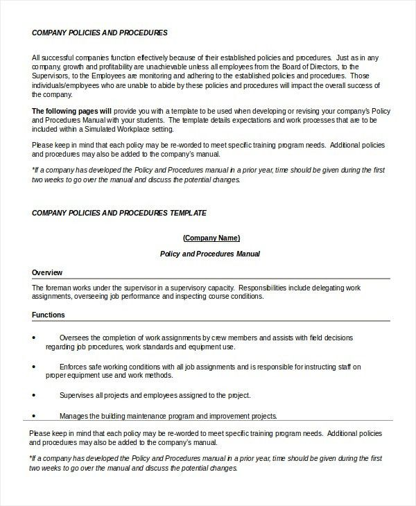 Policy Template   7+ Free Word, PDF Documents Download | Free .  Procedures Template Word