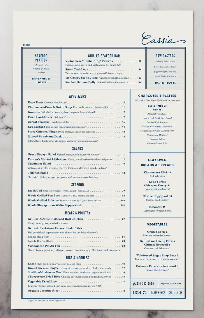 Cassia Menu by Strohl, Inc. | visual communication. graphic design. menu design. restaurant menu. layout. grid. hierarchy. typography.