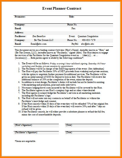 Event Planning Contracts Event Planner Contract Template For Word - event planner contract