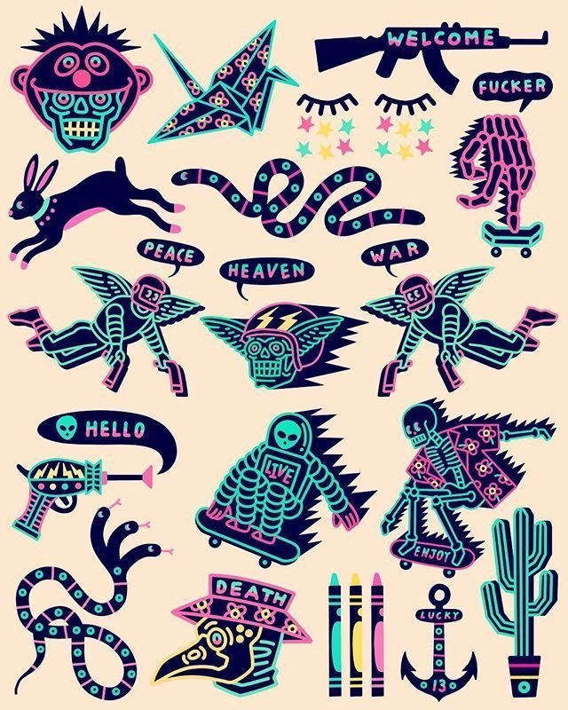 Weekly Inspiration Dose 067 – Indieground Design #graphicdesign #design #art #inspiration #doodles #retrowave #patches #badges #icons #neon #illustration