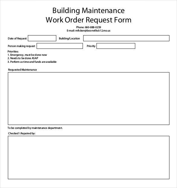 maintenance request form template excel