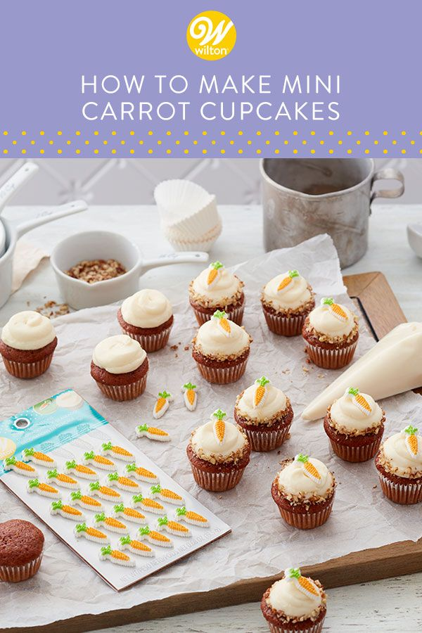 Enjoy a mini cupcake (or two!) with these Mini Carrot Cake Cupcakes. Made with your favorite carrot cake recipe and our tasty homemade cream cheese frosting, these mini cupcakes are then topped with crushed pecans and a little carrot icing decoration for added color and texture. Serve these after Easter brunch or for a spring baby shower or birthday. #wiltoncakes #cupcakes #minicupcakes #cupcakeideas #cupcakedecorating #baking #homemade #carrotcakerecipe #classic #easter #spring #dessertideas