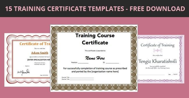 Training Certificate Template Download 6 Free Training - free training certificates