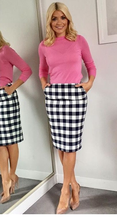 Nice pink blouse and plaid skirt