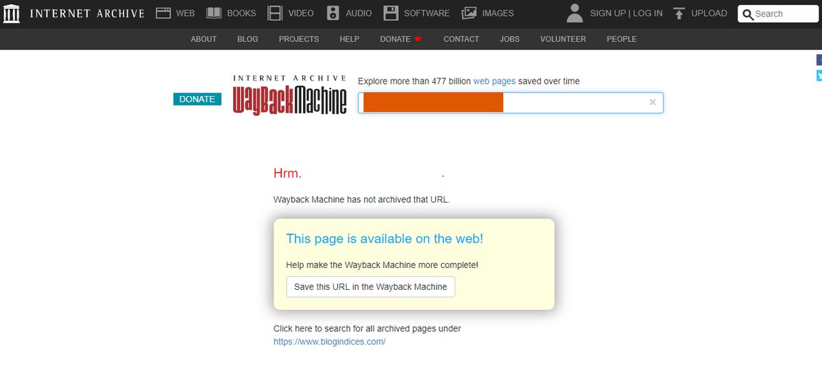 internet archieve no result found