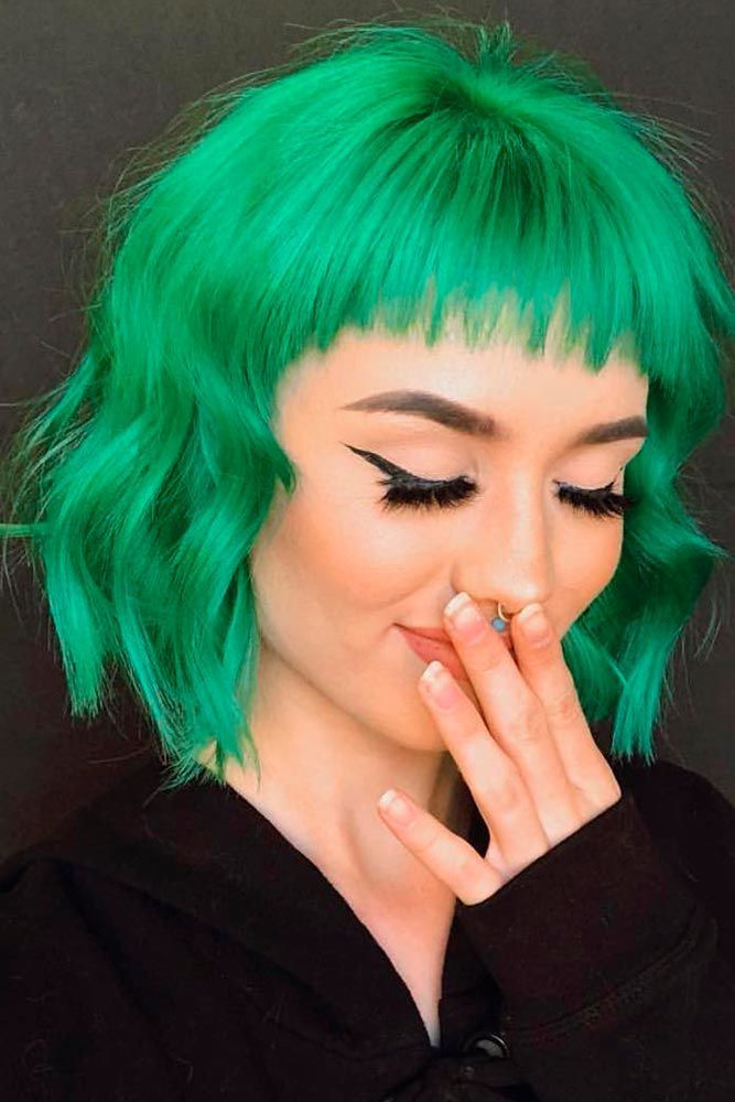 Bright Green #colorfulhair #shorthairstyles ★ Looking for the latest green hair ideas? In our guide, we've put together the best options to match any taste, from light pastel mint balayage on a short bob to dark and bright emerald ombre on long locks. #glaminati #lifestyle #greenhair