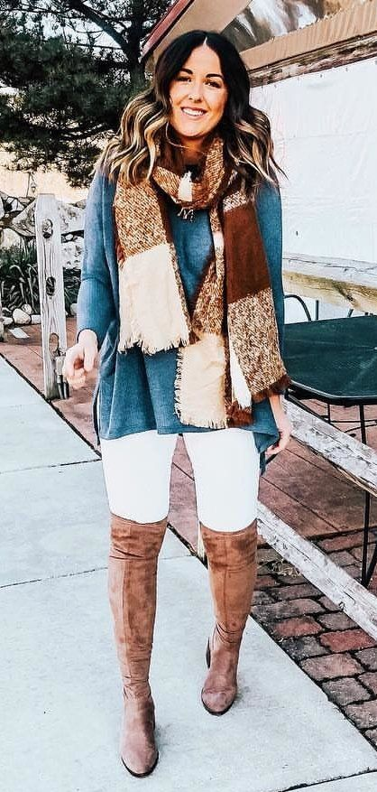 brown scarf #spring #outfits
