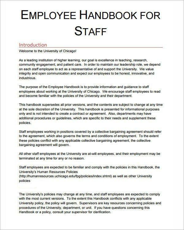 Restaurant Employee Handbook Template Employee Handbook Template - staff manual template