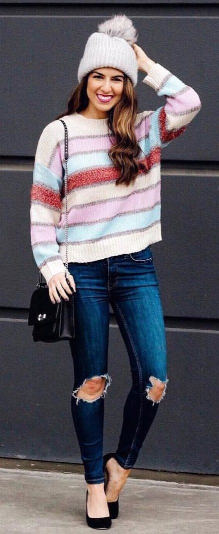 multicolored striped knitted sweater