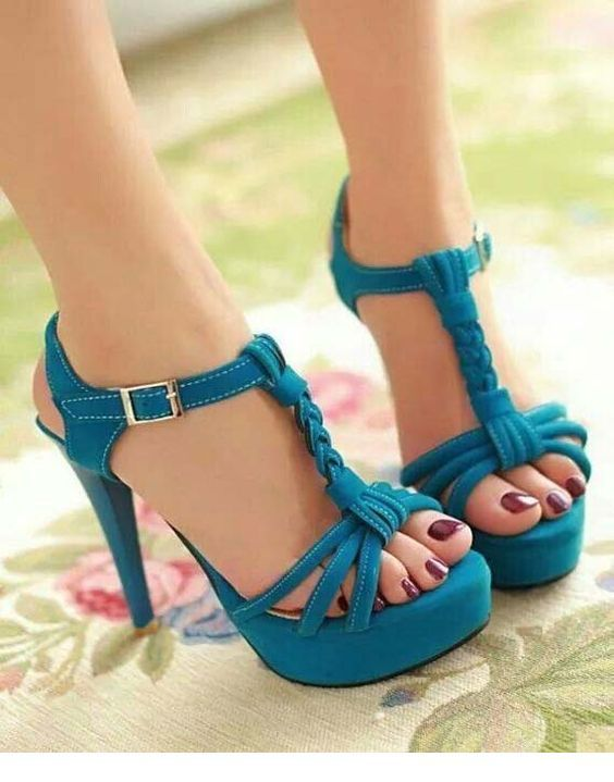 Cute blue sandals with high heels
