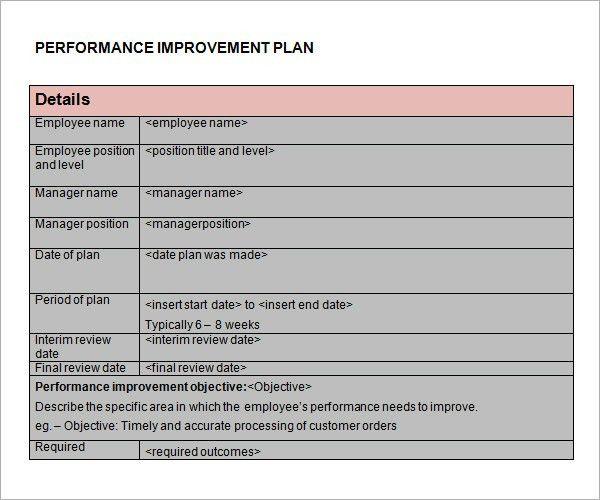 performance improvement plan template node2003cvresume