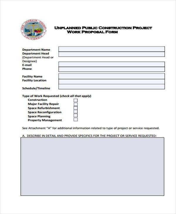 Construction Proposal Form Construction Bid Form Office Templates - work proposal