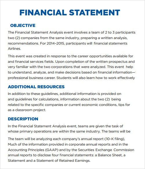 Annual Report Analysis Sample annual financial report template - sample financial report