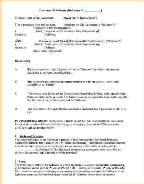 Sublet Contract Template Sublease Agreement Form Sublet Contract - sublease agreement