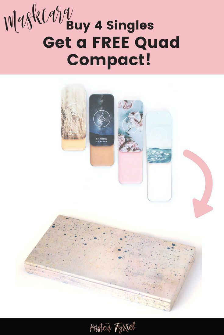 Need a great Mother's Day gift? This little makeup compact is the perfect gift :) When you buy 4 singles (at just $14 each) you can get a free magnetic quad compact! Maskcara Makeup Compact! Free Makeup!