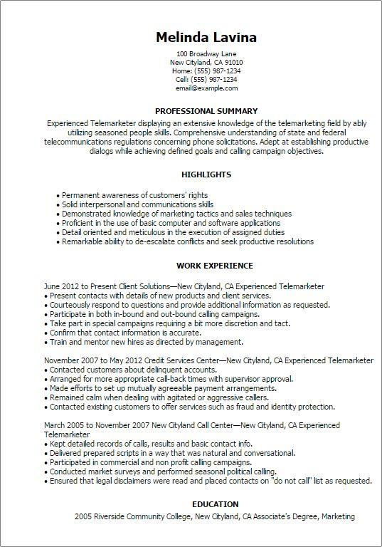 telemarketer resume resume cv cover letter