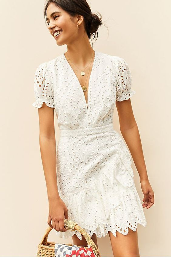 Nice white lace short dress