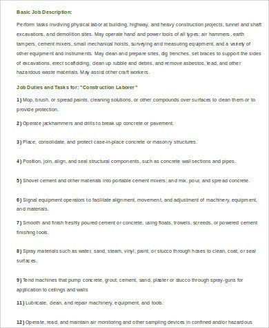 Construction Laborer Job Description construction worker resume