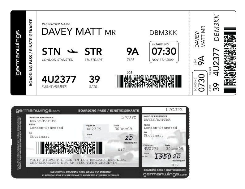 Fake ticket generator for Pretend plane ticket template