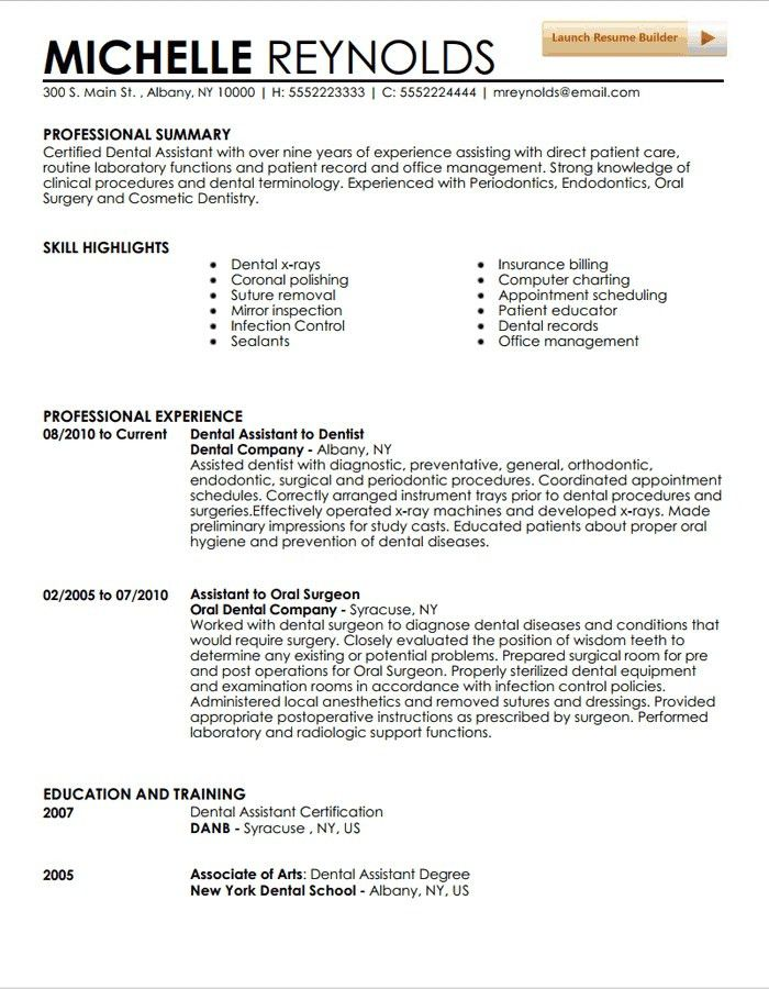Dental Resume Sample Dental Assistant Resume Sample Tips Resume - resume examples for dental assistant