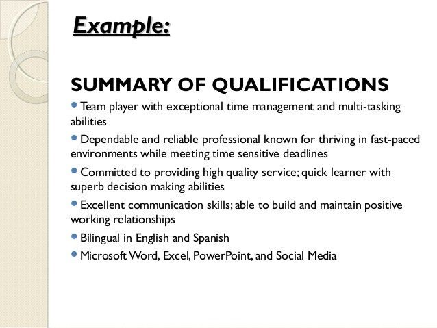 Qualifications Summary Resume Plainresume Co