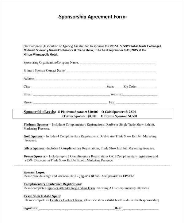 Sample Sponsorship Agreement Sponsorship Agreement Template - agreement form sample