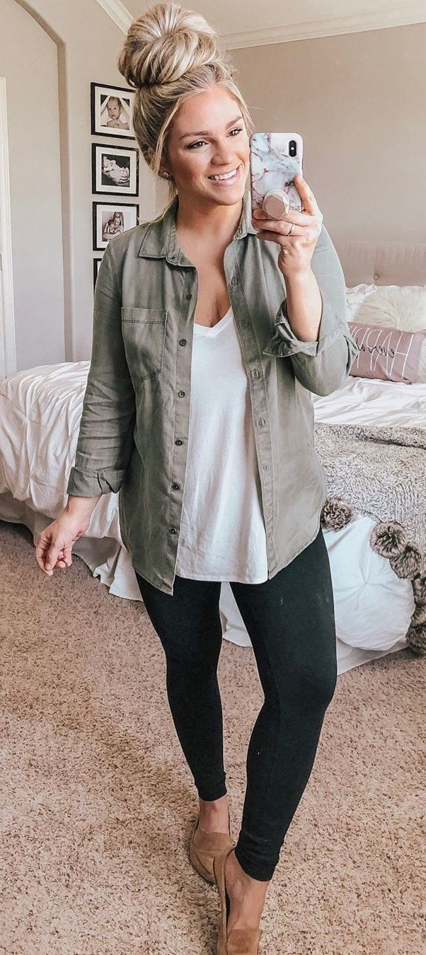 gray dress shirt #spring #outfits