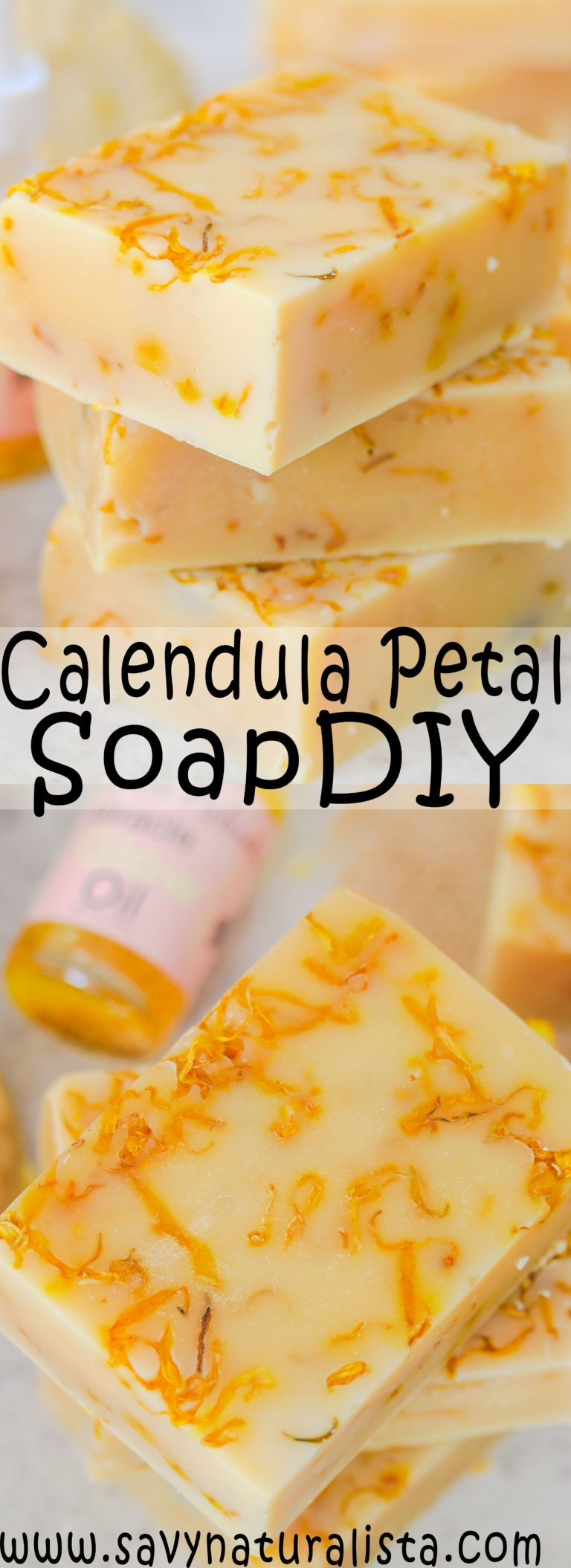 Calendula Oil Cold Process Soap is not only an easy beginner recipe, but it's made with real calendula oil and flowers for an all-natural soap that is soothing and gentle to the skin! #skincare #soapmaking #soap #beginnersoapmaking #calendulasoap #DIY #miracleglowoil
