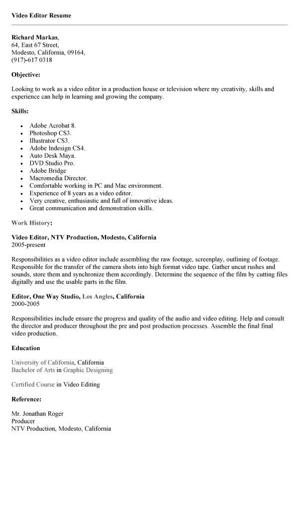 production editor resume