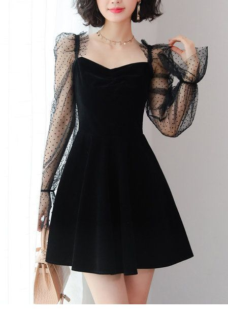Cute black dress with polka dots