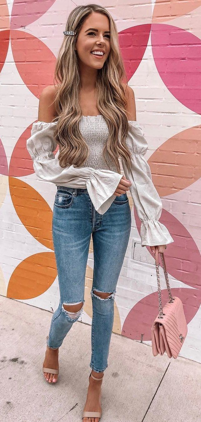 white off-shoulder long sleeved blouse #spring #outfits