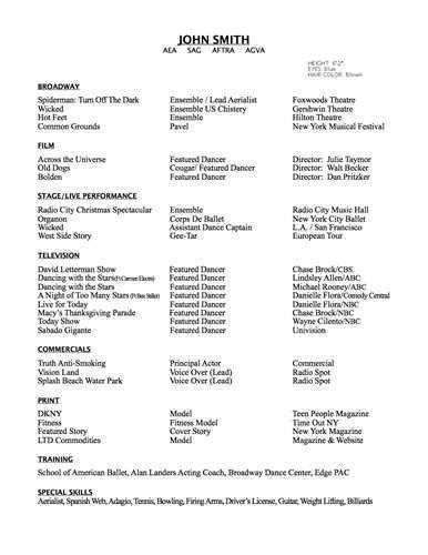 Dance Resumes Examples Dancer Resume Samples Visualcv Resume - musical theatre resume examples