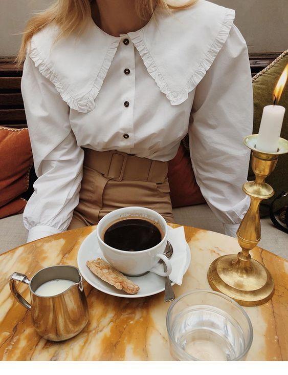 Amazing white shirt and brown pants vintage style