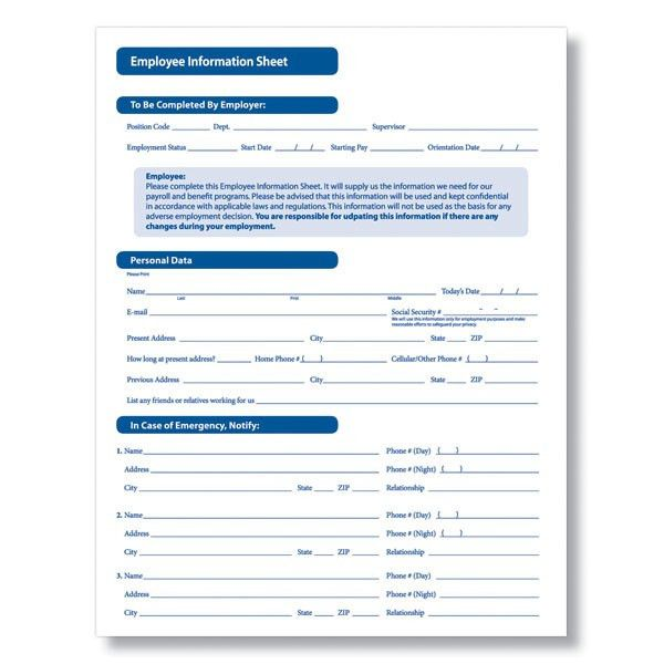 Employee Information Form Sample 12 New Hire Processing Forms Hr - employee warning form