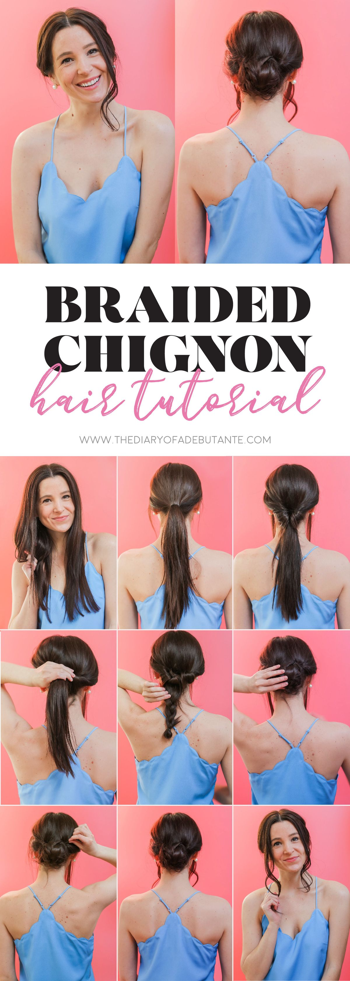"Looking for simple updos for medium to long hair? This super easy braided chignon hairstyle is the perfect ""lazy girl"" hairdo for spring weddings and for work! Click through for the step-by-step hair tutorial, along with a handful of DIY at-home hair color tips and tricks with Schwarzkopf Color Ultime hair color, by Stephanie Ziajka from the popular beauty blog Diary of a Debutante! #ad #fashioncolorexpert #schwarzkopf #hairtutorial #simplebraidedhairstyles #longhair #easyupdo #chignon"