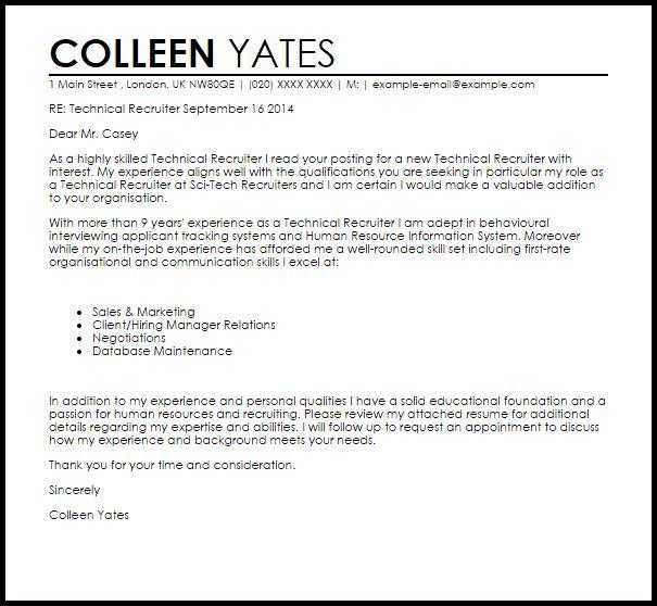 cover letter for recruiter sample