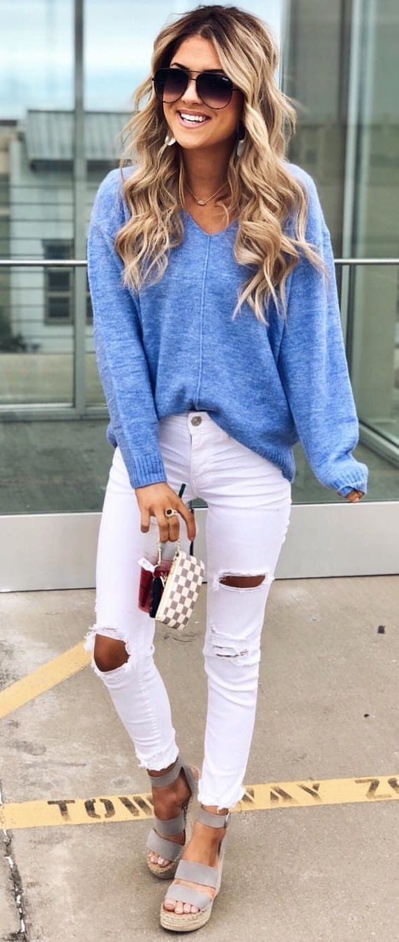 white denim distressed jeans #spring #outfits