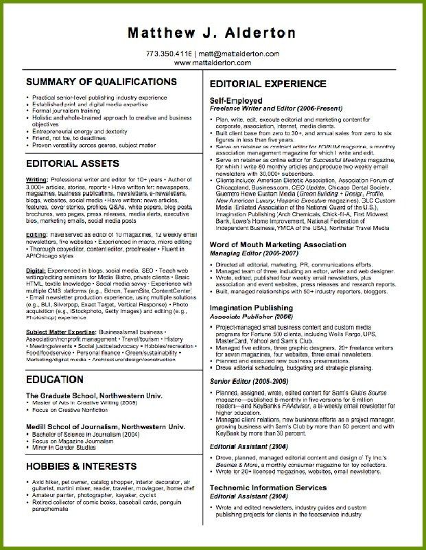 Writer Resume Example  Freelance Writing Resume