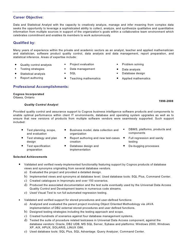 career objective for data analyst