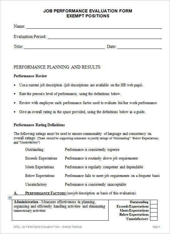 Job Performance Evaluation Form Exempt Positions