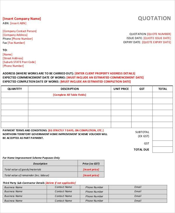 Business Quotation Sample Price Quotation Format Template Sample - how to create a quotation template