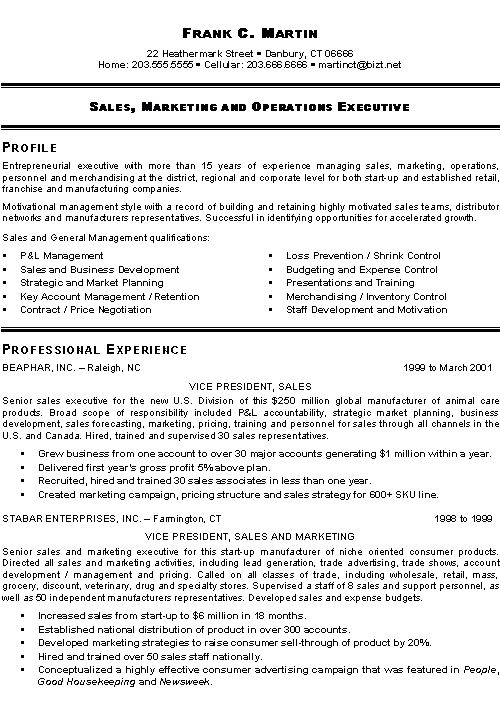 Sale Executive Resume Sample Resume Sample 16 Senior Sales - executive resume formats and examples