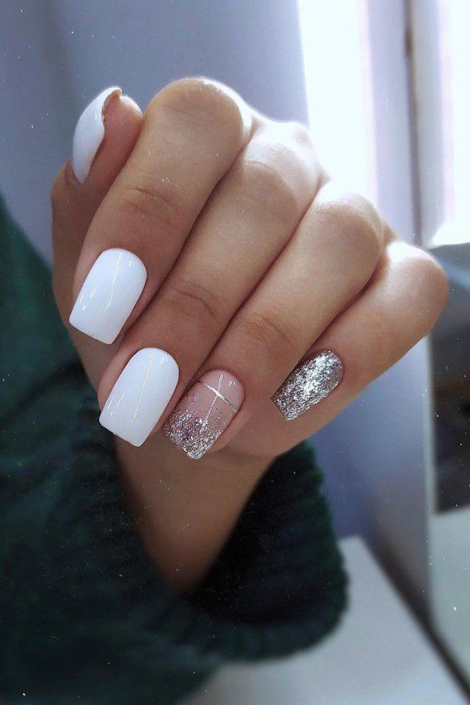 Bridal Nails Trends For 2020 ❤ bridal nails trends white silver glitter design with stripes m.v.beauty.nails #weddingforward #wedding #bride #weddingnailsdesign #bridalnailstrends