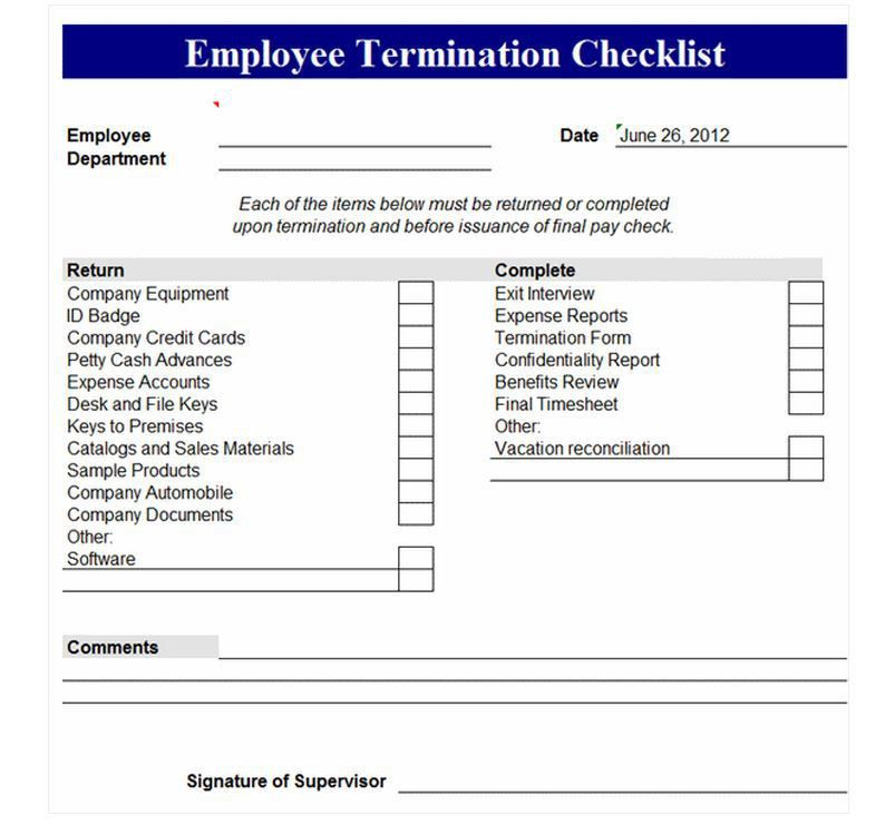 Employee Termination Form Template Free  Employee Termination Form Template Free
