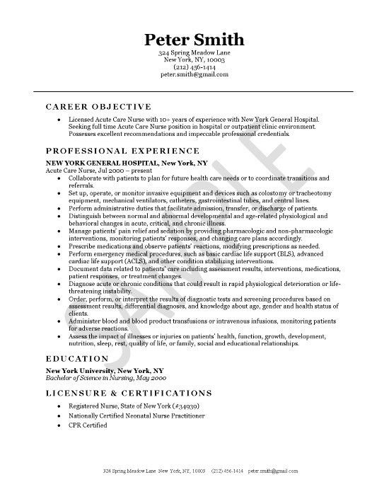 Registered Nurse Resume Objective Statement Examples - Examples of