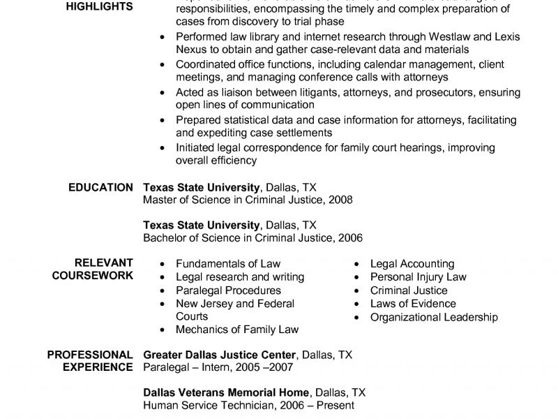Example Paralegal Resume  Personal Injury Paralegal Resume