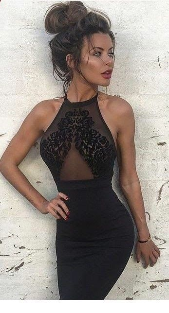 Chic black dress and a messy bun