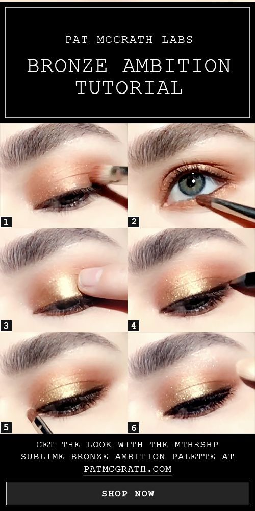 Bronze smokey eye makeup tutorial created using the NEW Spring 2018 Eyeshadow Palette: Pat McGrath Labs MTHRSHP SUBLIME BRONZE AMBITION. 1. Pack COPPERIZED pigment onto lid 2. Apply COPPERIZED pigment to lower lash line. 3. Swipe GOLD RUSH pigment onto lid 4. Define lash line using PermaGel Ultra Glide Pencil in BLITZ BROWN. 5. Highlight inner corner with GILT TRIP pigment 6. Highlight brow bone with GILT TRIP pigment | Click to shop BRONZE AMBITION #makeuptutorial #PMGHowTo