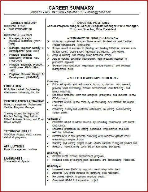 Resume Sample Summary 4 Choose Create My Resume Professional