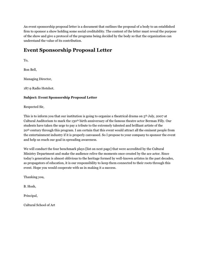Sample Event Proposal Letter Write Event Proposal Letter - event sponsorship letter sample